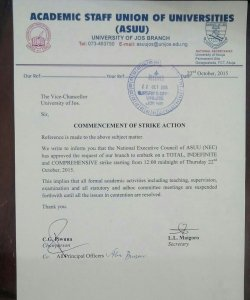 Unfortunate! UNIJOS ASUU Has Begun Strike Action [Photo]