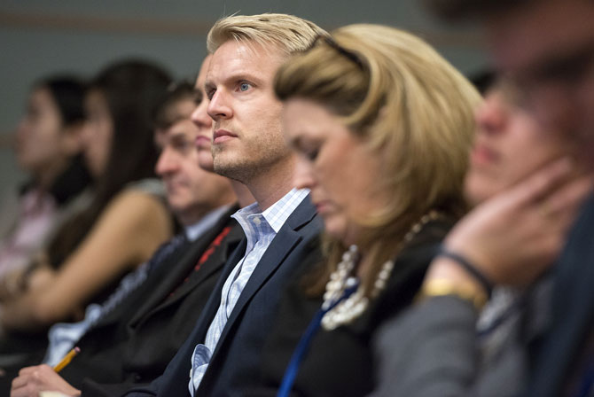 Audience members at a panel discussion during the 2014 Annual Meetings. © Grant Ellis/World Bank