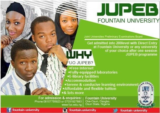 Fountain University JUPEB Admission Form for 2018/2019 Session