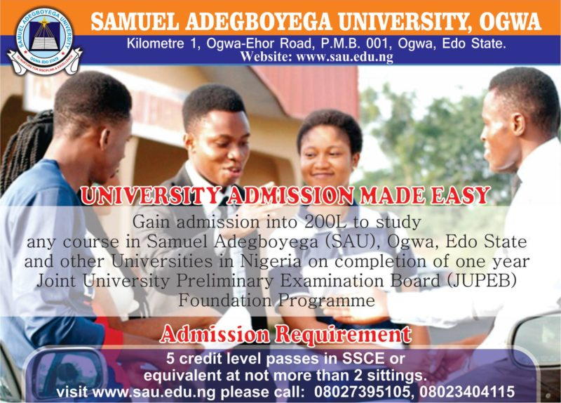 Get Admission Into 200L with Samuel Adegboyega University JUPEB Programme