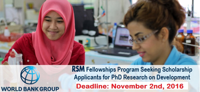 2017 World Bank Robert S. McNamara Fellowships Program for PhD Candidates from Developing Countries