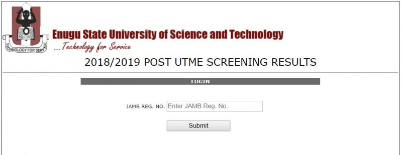 ESUT Post UTME Result Released, 2018/2019: See How To Check
