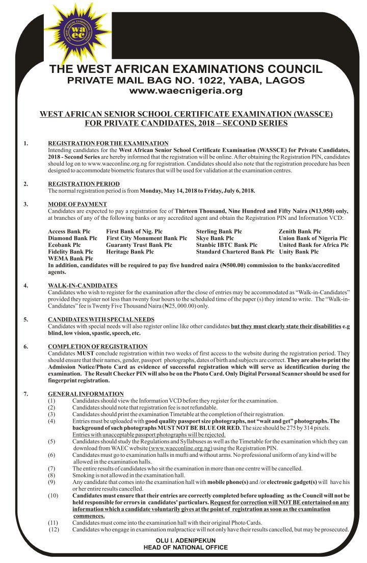 WAEC GCE Registration Form for Private Candidates, 2018 Second Series Details