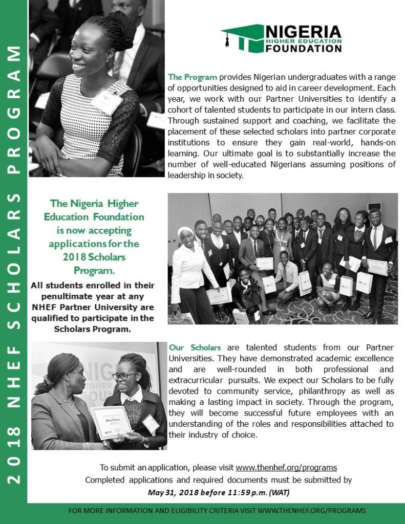 NHEF Scholarship Program For Nigerian Undergraduate Students 2018