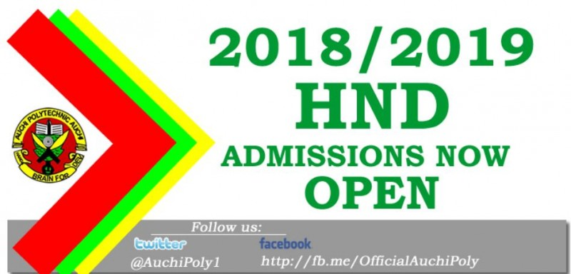 Auchi Polytechnic HND Full-Time Admission Announced for 2018/2019
