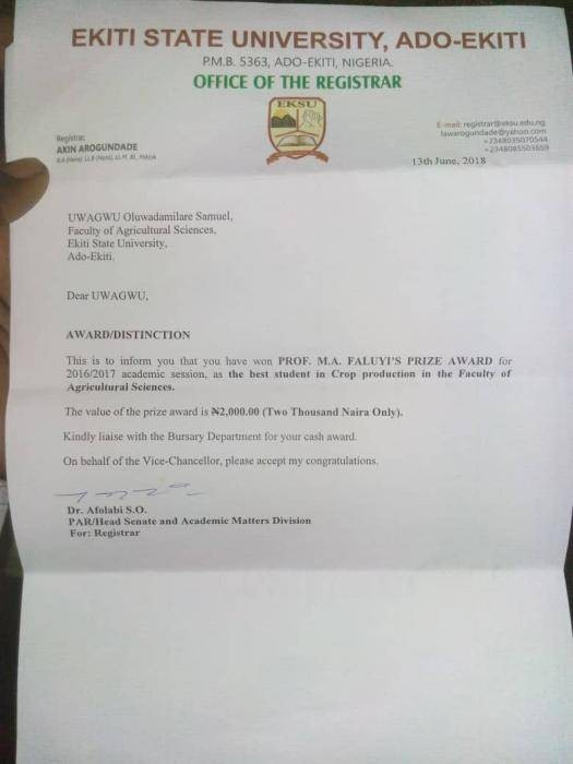 EKSU Best Student In Crop Production Awarded ₦2000 Prize Money