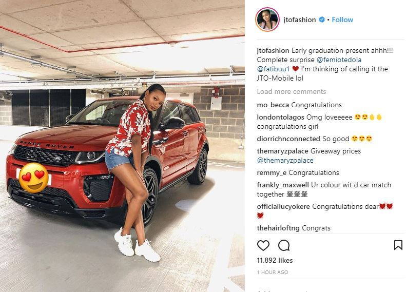 Otedola Gives His daughter, Temi, Brand New Range Rover as Graduation Present