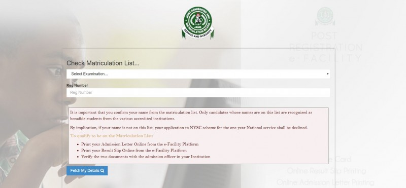 How To Confirm Your Admission And Name On JAMB Matriculation List