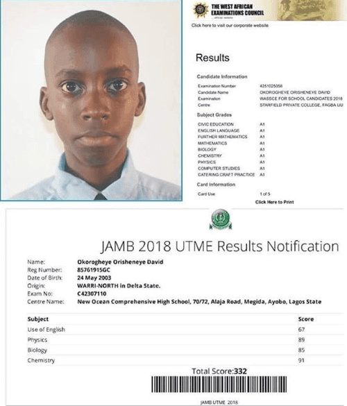 See Student Who Got All A's in His WAEC and Scored 332 in JAMB