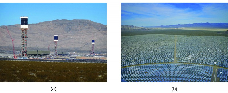 Two pictures are shown and labeled a and b. Picture a shows a thermal plant with three tall metal towers. Picture b is an arial picture of the mirrors used at the plant. They are arranged in rows.