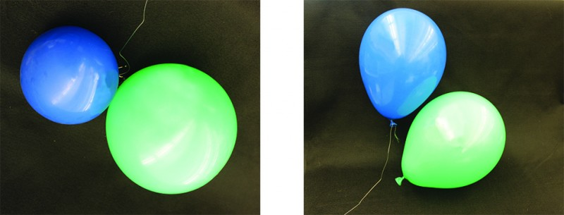 This figure shows two photos. The first photo shows a blue balloon which floats above a green balloon. The green balloon is resting on a surface. Both balloons are about the same size. The second photo shows the same two balloons, but the blue one is now smaller than the green one. Both are resting on a surface.