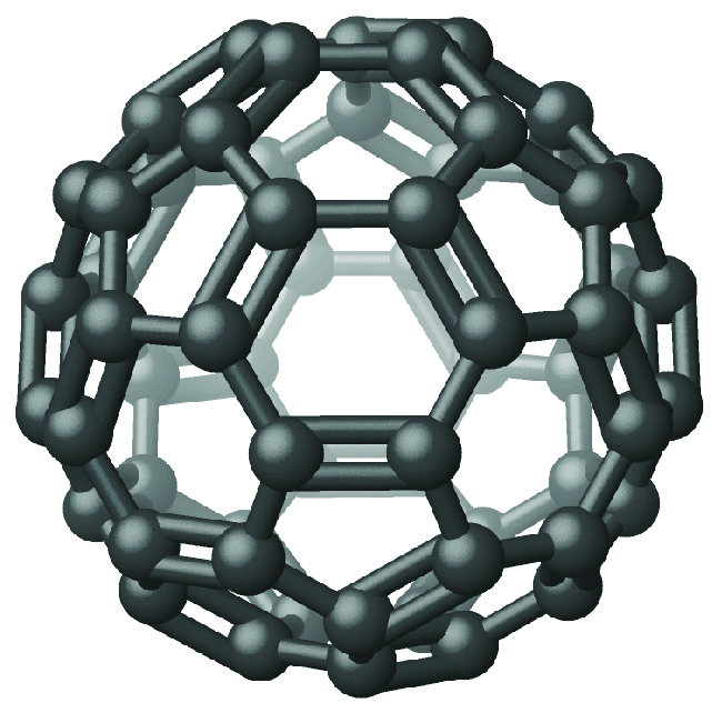 A spherical structure is made up of hexagonal rings, each of which is made up of atoms bonded together with alternating single and double bonds.