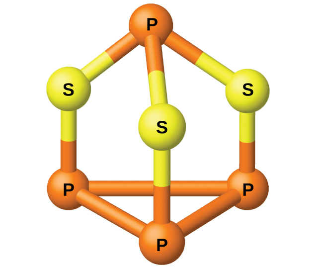 """A ball-and-stick model is shown. Three orange atoms labeled """"P"""" are single bonded together in a triangle shape. Each """"P"""" is single bonded to yellow atoms labeled """"S,"""" which are each single bonded to one other orange atom labeled """"P."""""""