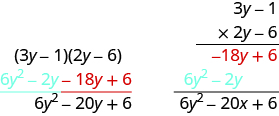 This figure has two columns. In the left column is the product of two binomials, 3y minus 1 and 2y minus 6. Below this is 6y squared minus 2y minus 18y plus 6. Below this is 6y squared minus 20y plus 6. In the right column is the vertical multiplication of 3y minus 1 and 2y minus 6. Below this is the partial product negative 18y plus 6. Below this is the partial product 6y squared minus 2y. Below this is 6y squared minus 20y plus 6.