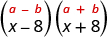 The product of x minus 8 and x plus 8. Above this is the general form a minus b, in parentheses, times a plus b, in parentheses.