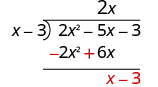 The sum of 2 x squared minus 5 x and negative 2 x squared plus 6 x is x, which is written underneath the 6 x. The third term in 2 x squared minus 5 x minus 3 is brought down next to x, making x minus 3.