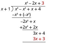 Plus 3 is written on top of the long division bracket, above the 4 in x cubed minus x squared plus x plus 4. 3 x plus 3 is written under 3 x plus 4.