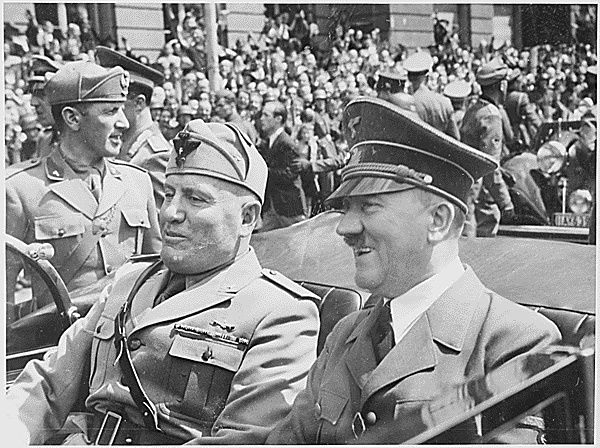 Nazi leader Adolf Hitler was one of the most powerful and destructive dictators in modern history. He is pictured here with fascist Benito Mussolini of Italy. (Photo courtesy of U.S. National Archives and Records Administration)