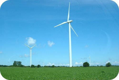 Wind turbines use a renewable resource
