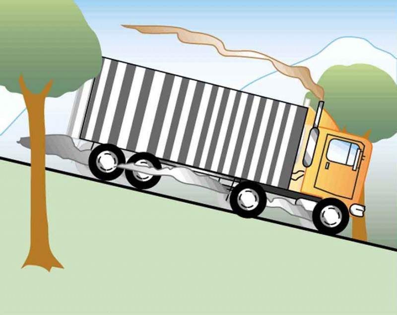 The figure shows a truck coming from the left and moving on a road which is sloping downhill to the right. Smoke is coming from the area of the wheels of the truck.
