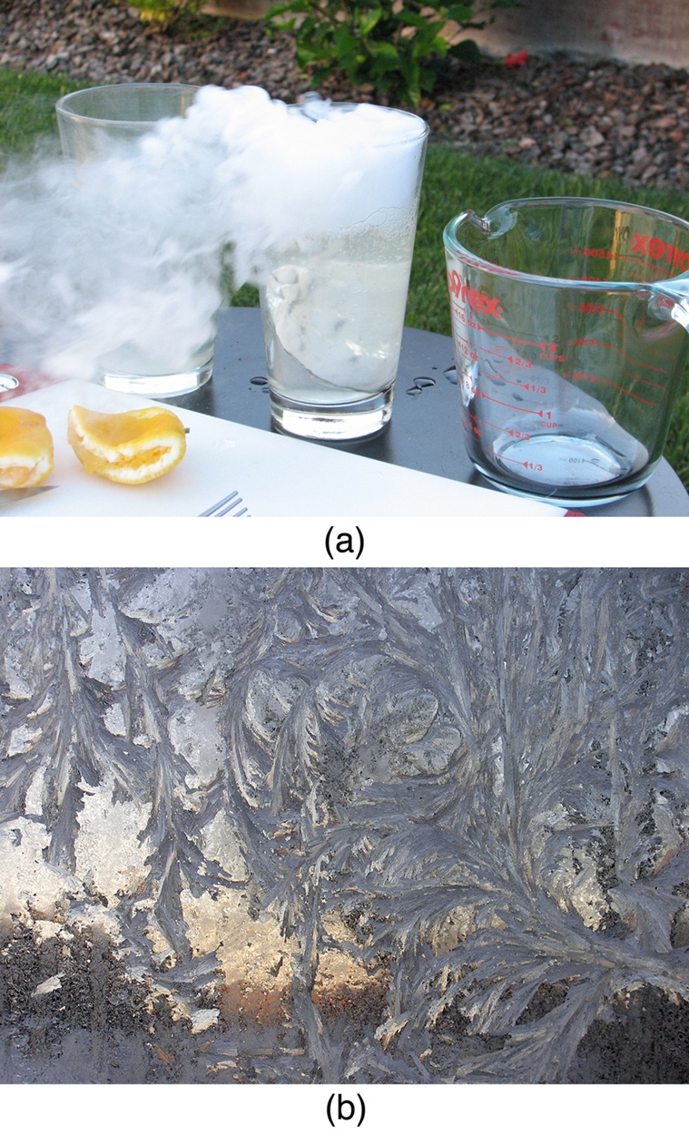 Figure a shows vapors flowing out from the middle of three glasses placed adjacently on a table. This glass contains a piece of dry ice in lemonade. Two squeezed lemon slices are also seen alongside the glasses. Figure b shows frost patterns formed on a window pane.