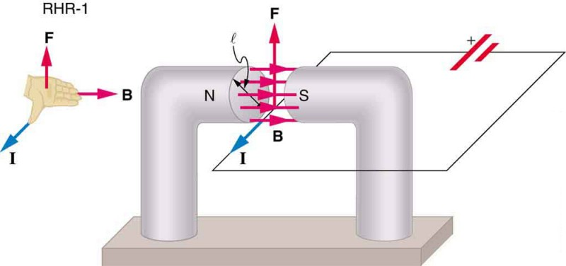 A diagram showing a circuit with current I running through it. One section of the wire passes between the north and south poles of a magnet with a diameter l. Magnetic field B is oriented toward the right, from the north to the south pole of the magnet, across the wire. The current runs out of the page. The force on the wire is directed up. An illustration of the right hand rule 1 shows the thumb pointing out of the page in the direction of the current, the fingers pointing right in the direction of B, and the F vector pointing up and away from the palm.