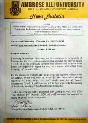 aau staff resumption date