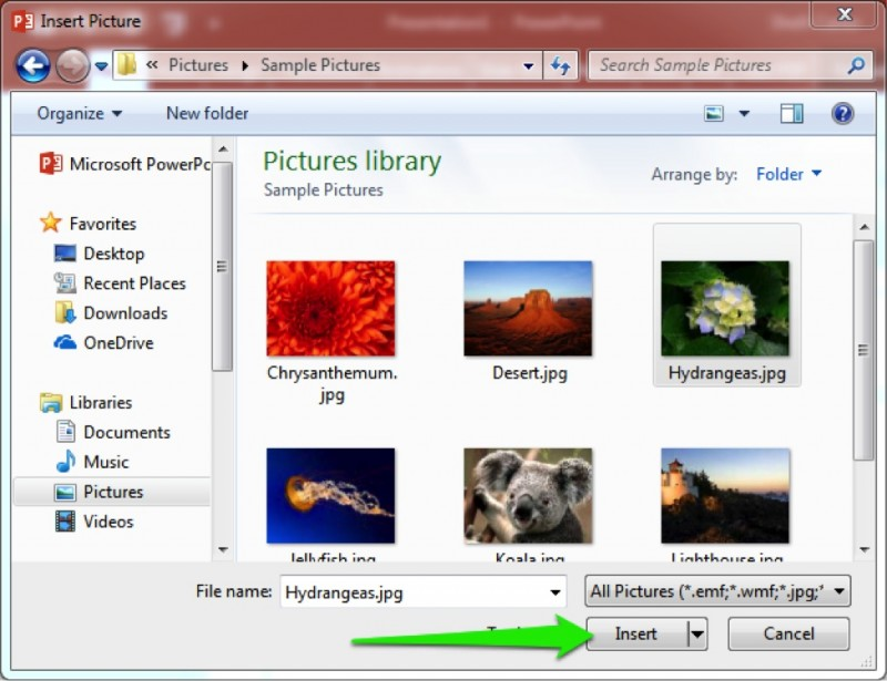 A basic pictures library folder has opened.
