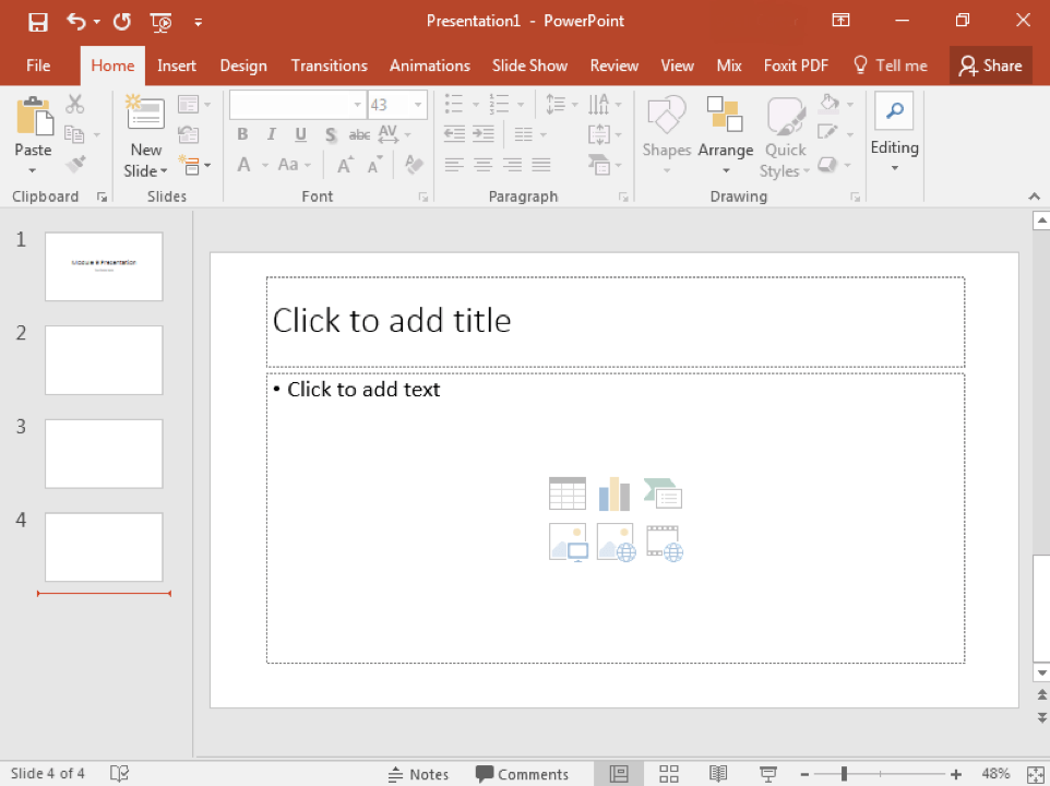 A Microsoft Powerpoint is open with 4 slides displayed.