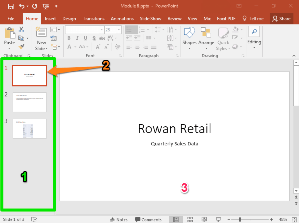A Microsoft Powerpoint deck is open with 3 slides created. There are three numbers each with a different color used to represent important parts of the powerpoint. The first one is green and is showing the slide thumbnail view. The second is orange and it demonstrates where the active slide thumbnail is. Finally the third one highlights the active slide.