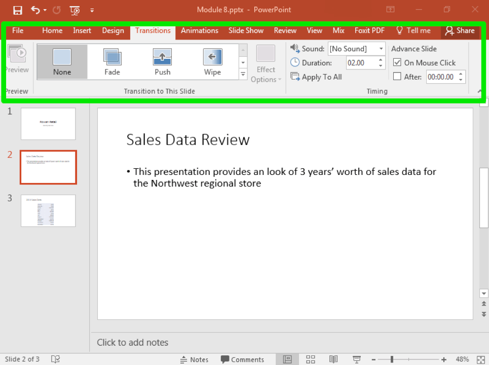 A Microsoft Powerpoint deck is open with 3 slides created. A large green box highlights the transitions tab in the ribbon menu.