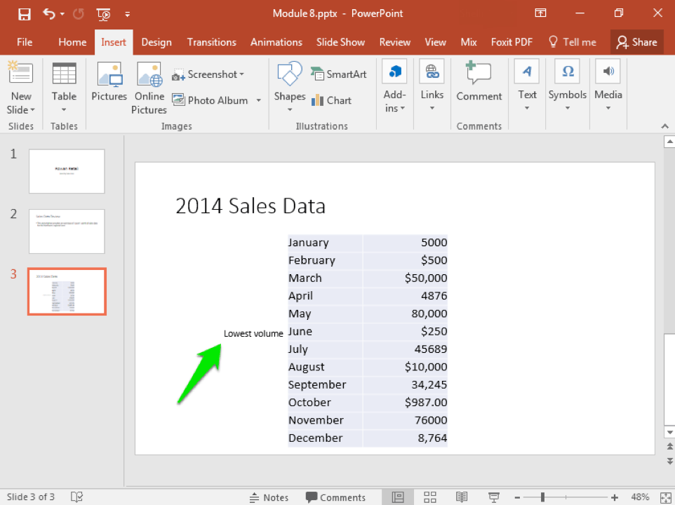 A Microsoft Powerpoint deck is open with 3 slides created. A green arrow points at a new section of text that has been inserted on the 3rd slide.