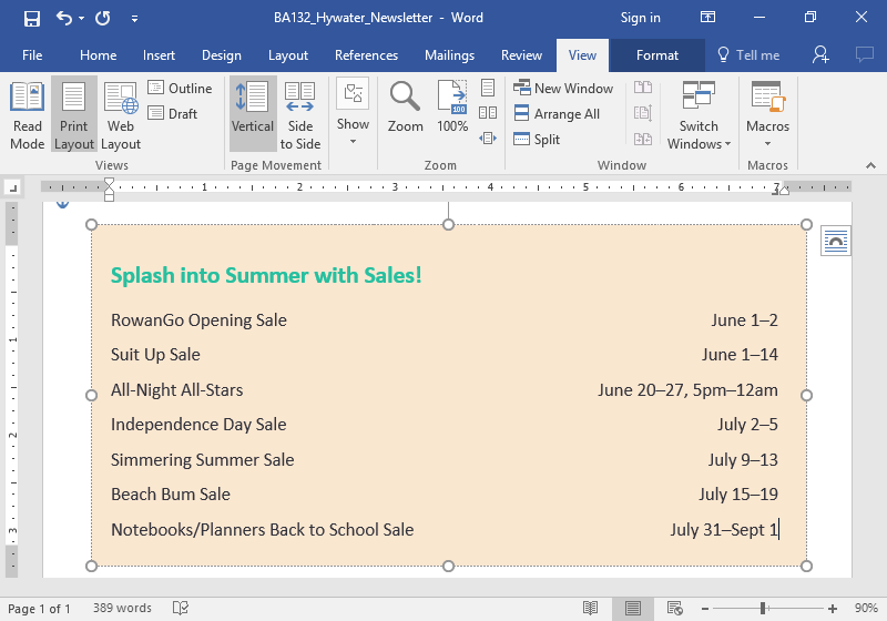 A microsoft word document showing a newsletter from Rowan Retail is displayed. The dates for the store being open is listed.