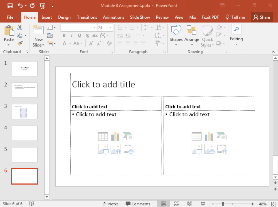 A Microsoft Powerpoint deck is open with 3 slides created. Three new slides have been inserted making it a 6 slide deck now.