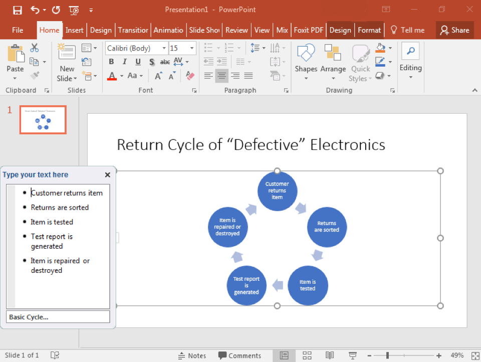 A Microsoft Powerpoint is open with two slides. The second slide has been selected and a smart art cycle has been inserted. A text box to the left has opened allowing access to change the content inside the cycle.