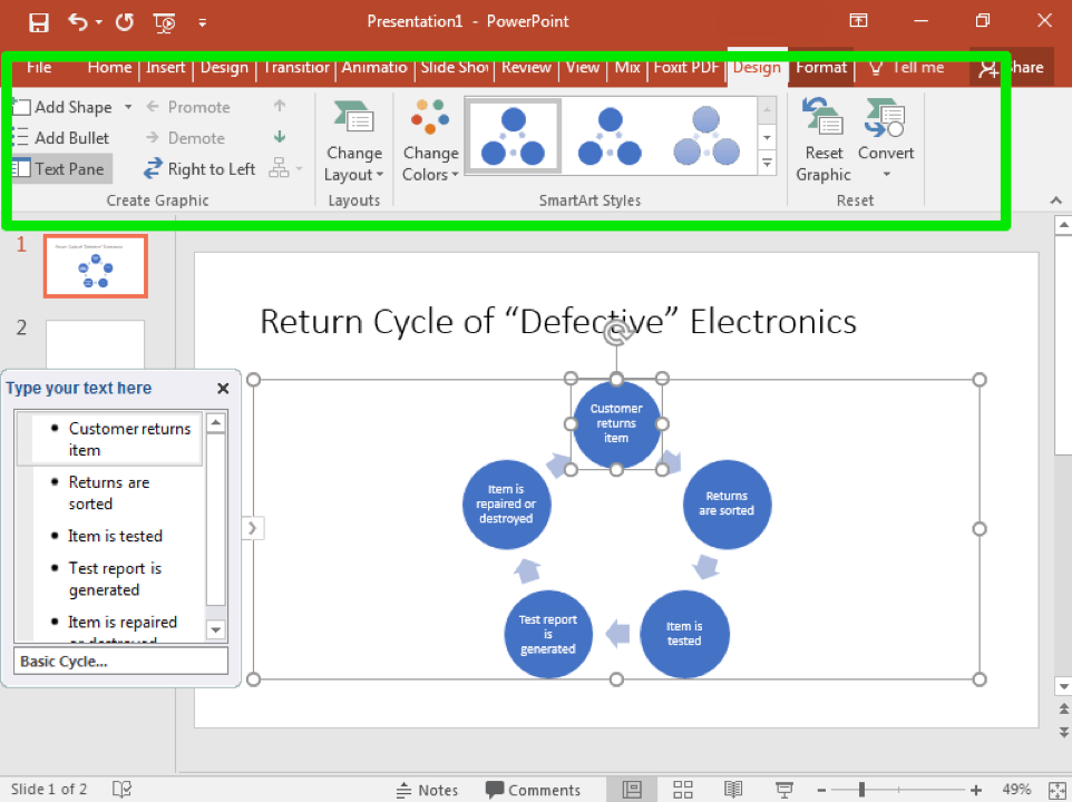 A Microsoft Powerpoint is open with two slides. The second slide has been selected and a smart art cycle has been inserted. A text box to the left has opened allowing access to change the content inside the cycle. A green box in the ribbon has appeared highlighting the design tab in the menu.