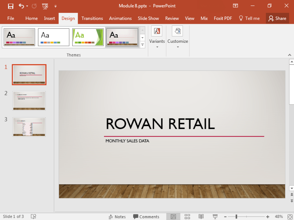 A Microsoft Powerpoint deck is open with 3 slides created. A new design feature has been added making the slide deck more visually appealing.