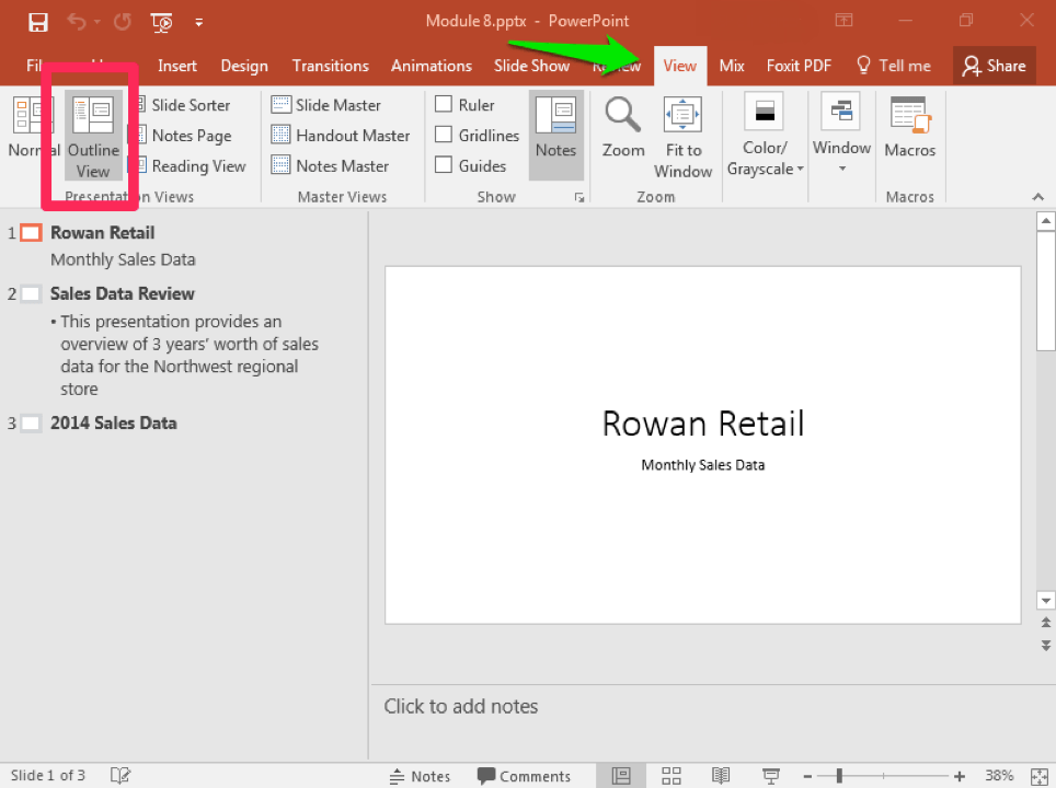 A Microsoft Powerpoint deck is open with 3 slides created. There is a green arrow pointing to the view tab in the ribbon menu. There is a pink box highlighting where the outline view is.