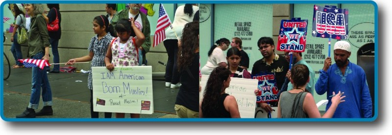 """People holding signs with messages such as """"I am American-born Muslim!"""""""