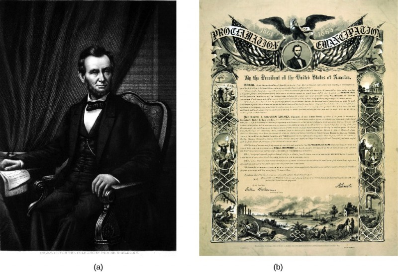 Image A is of Abraham Lincoln sitting in a chair. His right hand rests on a paper document. Image B is of a document. The document reads