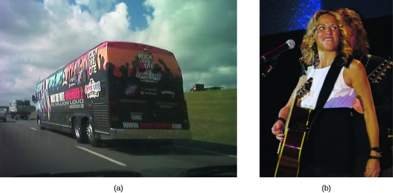 Image A is of a tour bus driving along a road. Print on the back of the bus reads