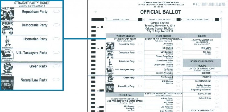 An image of an official ballot for the 2012 general election. A callout box highlights the section titled