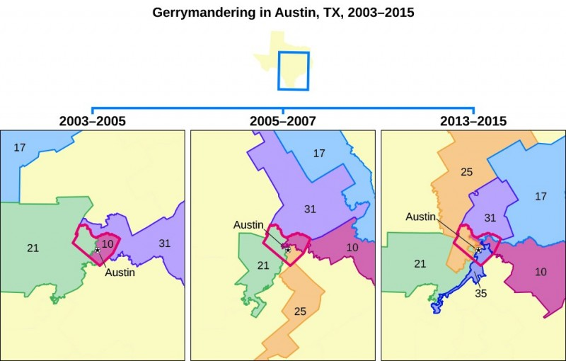 A series of three maps titled Gerrymandering in Austin, Texas, 2003–2015