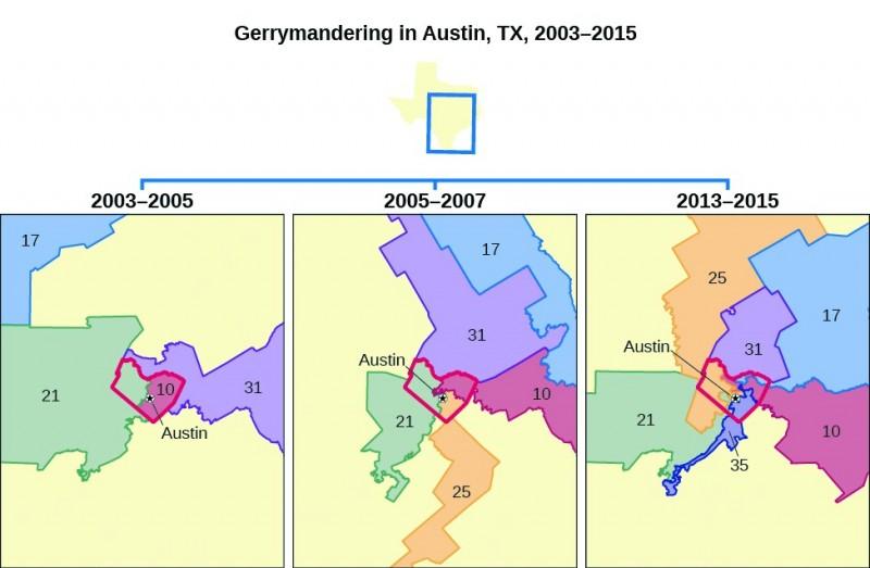 Gerrymandering in Austin, Texas, 2003 through 2015.