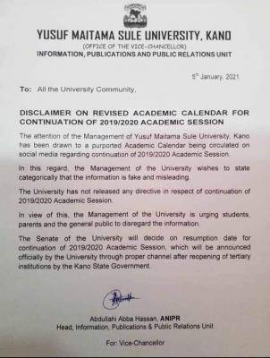 yusuf maitama sule university academic calendar disclaimer notice
