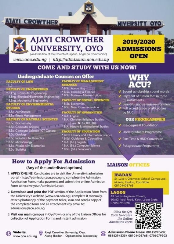 Ajayi Crowther University Admission Form for 2019/2020 Session