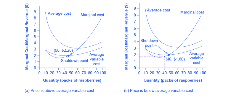 The graphs show that despite negative profits (i.e. losses), firms can continue to operate. However, when prices drop beneath variable cost, firms will shut down