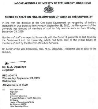 lautech resumption notice to staff