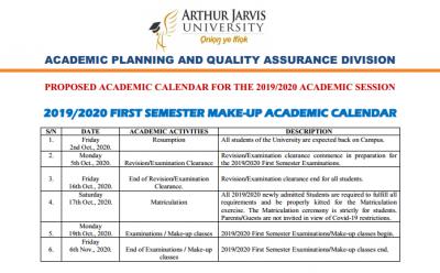 aurthur jarvis academic calendar