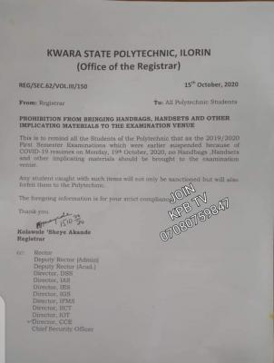 kwara state poly notice